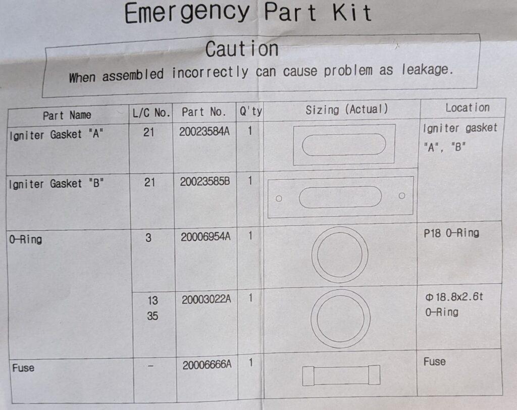 Navien emergency repair parts