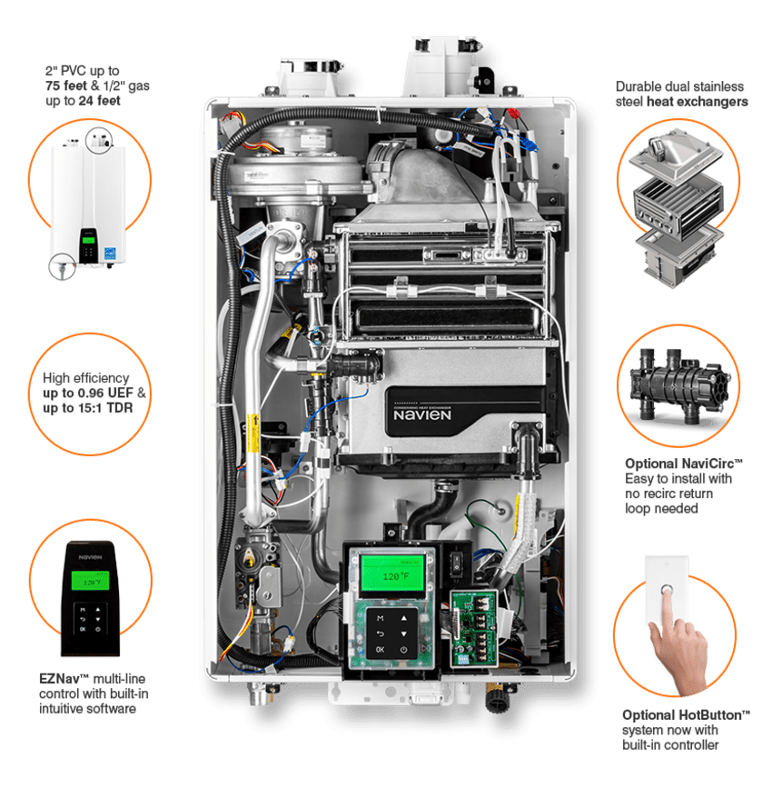 Internal view and features of the Navien NPE-240S2